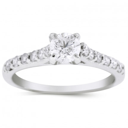 WS18450W | Side Stone Engagement Ring | Payroll Jewelry