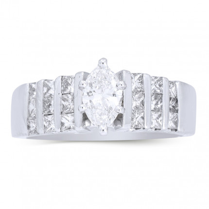 WS18707W | Side Stone Engagement Ring | Payroll Jewelry