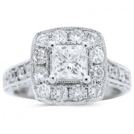 WS18905W   Halo Engagement Ring   Payroll Jewelry