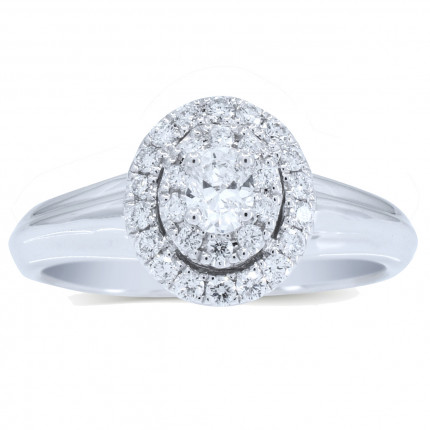 WS27401W | Payroll Jewelry | Halo Engagement Ring