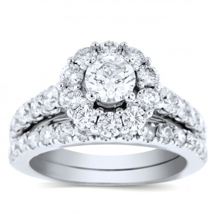 WS391106W | Halo Wedding Set Engagement Ring | Payroll Jewelry
