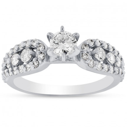 WS46427W | Side Stone Engagement Ring | Payroll Jewelry