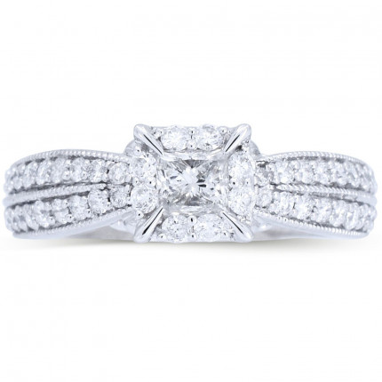 WS473W | Payroll Jewelry | Halo Engagement Ring
