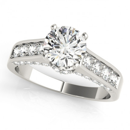 WS50525W-1/2 | Side Stone Engagement Ring. | Payroll Jewelry