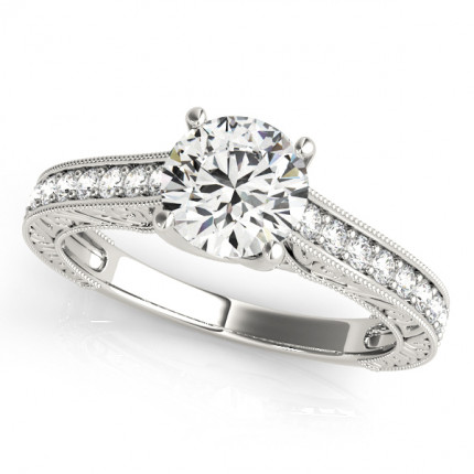 WS50648W | Side Stone Halo Engagement Ring | Payroll Jewelry