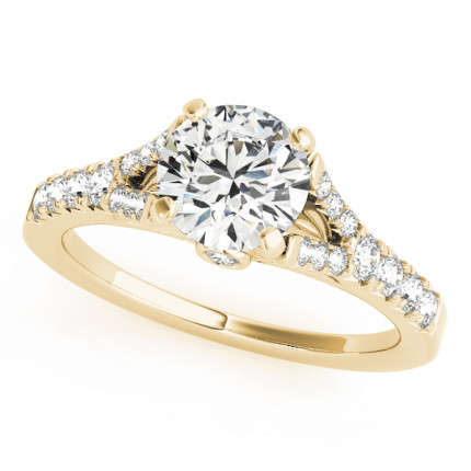 WS50668Y-75 | Yellow Gold Side Stone Engagement Ring. | Payroll Jewelry