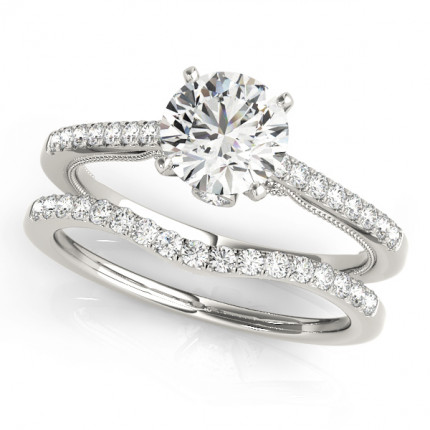 WS50845SET | Side Stone Wedding Set. | Payroll Jewelry