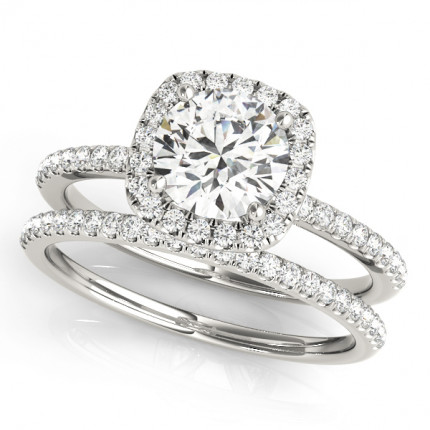 WS50893W-3/4 | Halo Wedding Set Engagement Ring. | Payroll Jewelry