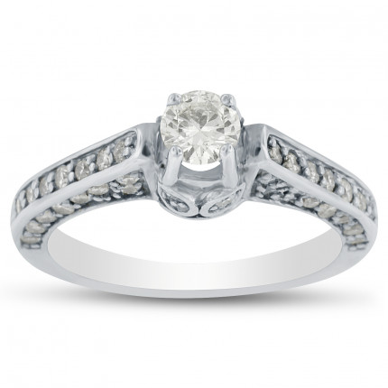 WS5250W | Side Stone Engagement Ring | Payroll Jewelry
