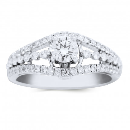 WS64741W | Side Stone Engagement Ring | Payroll Jewelry