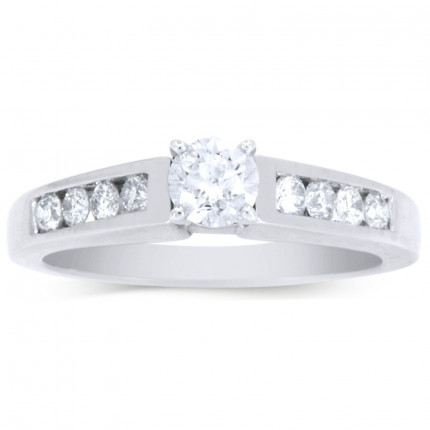 WS9BRW | Side Stone Engagement Ring | Payroll Jewelry