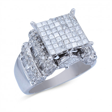 WSF202W | Side Stone Ladies White Gold Ring | Payroll Jewelry