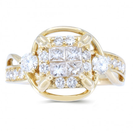 WSF402Y | Payroll Jewelry | Halo Engagement Ring