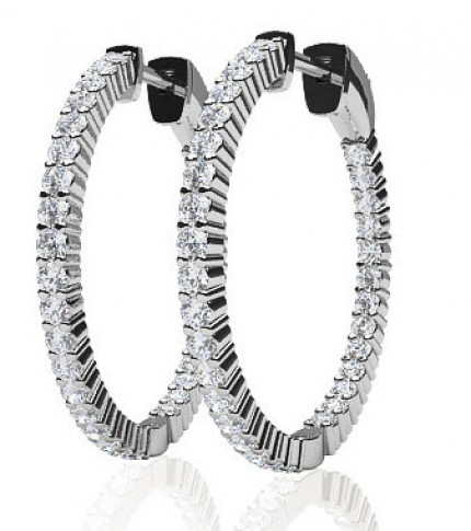 SE64-B | Diamond Hoop Earrings | Payroll Jewelry